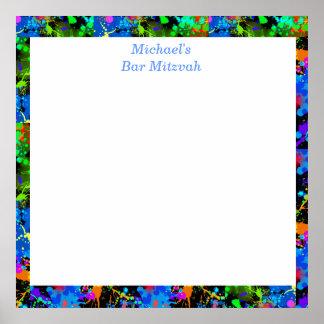 Poster Barrez Mitzvah, néon de Faux, signez dedans le