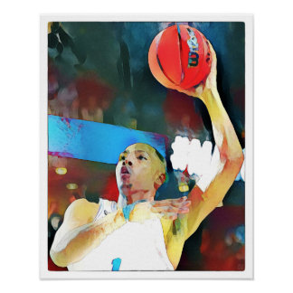 Poster Basket-ball - art sur la copie de toile