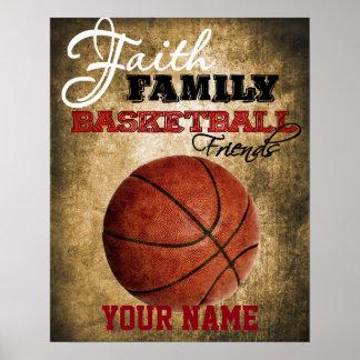 Poster Basket-ball de décor de pièce de garçons