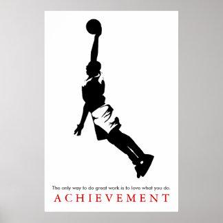 Poster Basket-ball de motivation d'accomplissement blanc