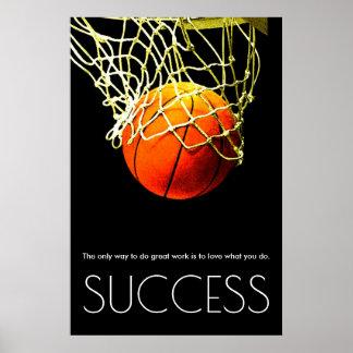 Poster Basket-ball de motivation de succès à la mode