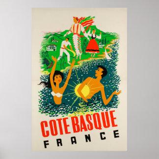Poster Basque de Côte, France, affiche de voyage