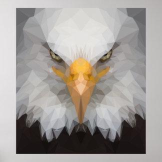 Poster Basse poly affiche de portrait d'aigle