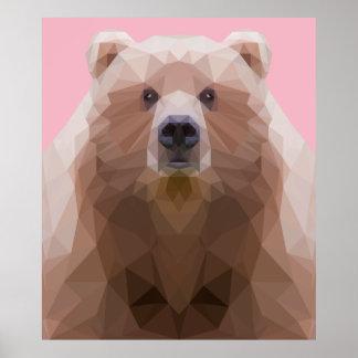 Poster Basse poly affiche de portrait d'ours