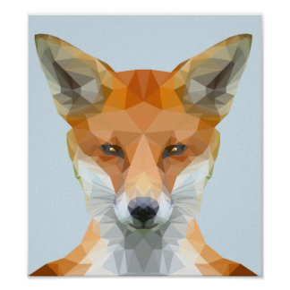 Poster Basse poly affiche de renard