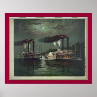 Poster Bateau à vapeur vintage sur la lithographie du