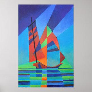 Poster Bateau abstrait d'ordure de cubiste contre le ciel