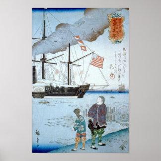 Poster Bateau d'Étrangers, beaux-arts de Japonais de