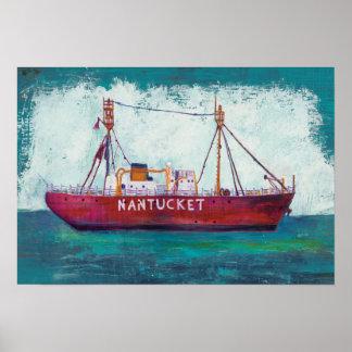 Poster Bateau-phare côtier de l'art | Nantucket