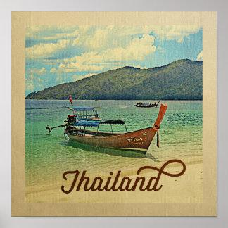 Poster Bateau thaïlandais de voyage vintage d'affiche de