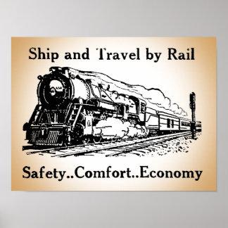 Poster Bateau vintage et voyage par chemin de fer