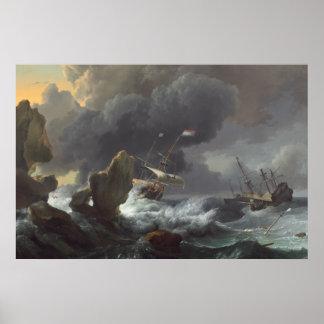 Poster Bateaux dans la détresse outre d'une côte rocheuse