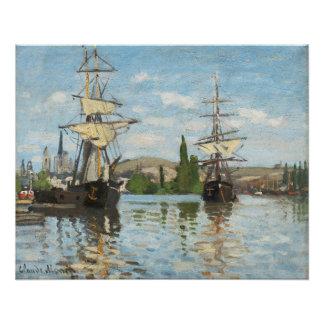 Poster Bateaux de Claude Monet | montant sur la Seine à