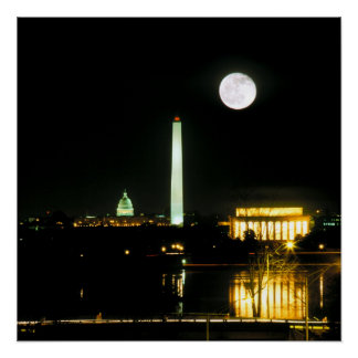 Poster Bâtiment de capitol, le Lincoln Memorial, Washingt