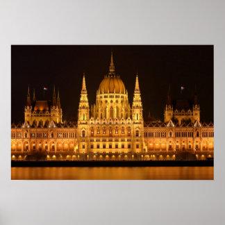 Poster Bâtiment du Parlement de la Hongrie la nuit