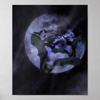 Poster Battes de Halloween une nuit de pleine lune
