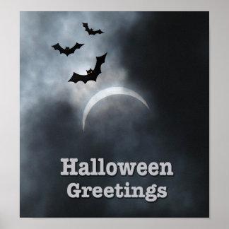Poster Battes éffrayantes de Halloween dans l'éclipse