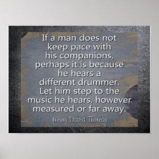 Poster Batteur différent --- Citation de Thoreau - copie
