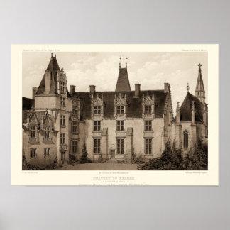 Poster Beau château français dans des tons de sépia