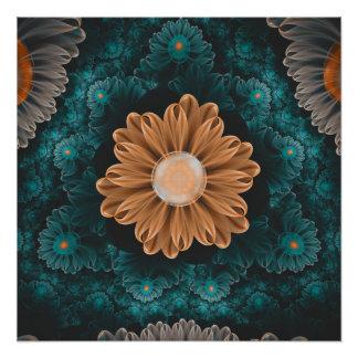 Poster Beau chrysanthème de paradis d'orange et d'Aqua