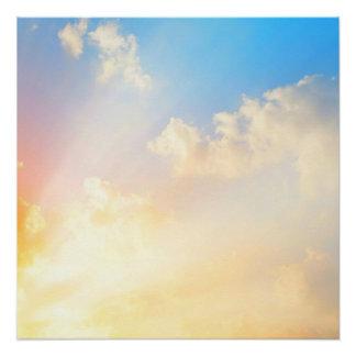 Poster Beau ciel bleu avec des nuages, la beauté de la na