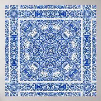 Poster Beau motif bleu et blanc de tuile de mandala