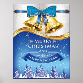Poster Beau Noël Bells d'or avec l'arc bleu
