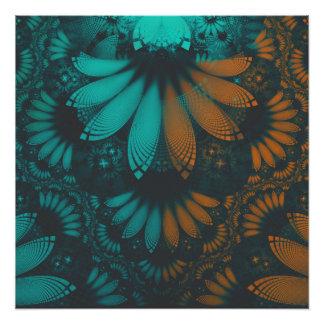 Poster Beau Teal et plumes oranges de fractale de Paisley