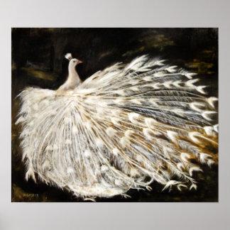 Poster Beaux-arts blancs de peinture à l'huile de paon