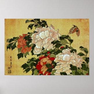 Poster Beaux-arts de Japonais de Hokusai de pivoines et