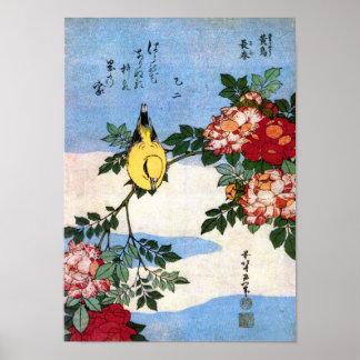 Poster Beaux-arts de Japonais de Hokusai de rossignol et