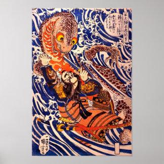 Poster Beaux-arts de Kuniyoshi de salamandre samouraï et