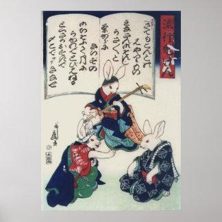Poster beaux-arts épidémiques de Kuniyoshi de lapin de