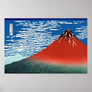 Poster Beaux-arts rouges de Japonais de Fuji Hokusai