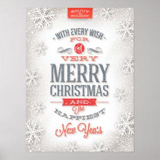 Poster Beaux flocons de neige rouges et blancs de