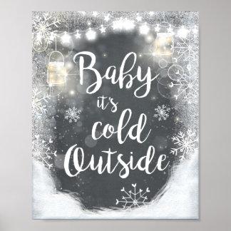 Poster Bébé c'est décor extérieur froid d'hiver de signe