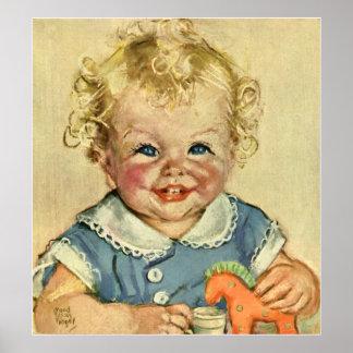 Poster Bébé scandinave blond mignon vintage ou fille