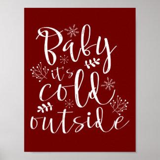 Poster Bébé son extérieur froid Noël assez rouge et blanc