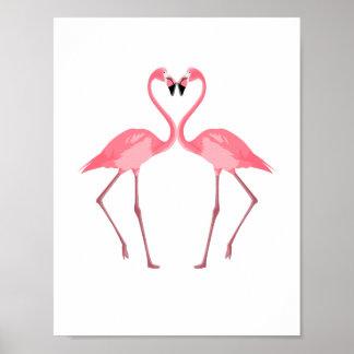 Poster Bel amour rose de flamants