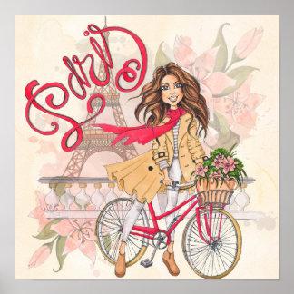 Poster Belle fille sur une bicyclette à Paris