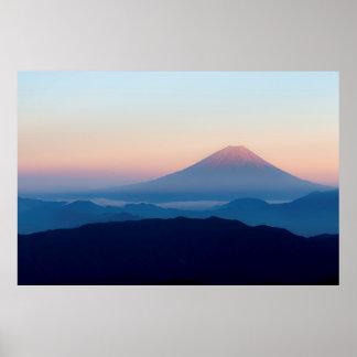 Poster Belle vue le mont Fuji, Japon, lever de soleil