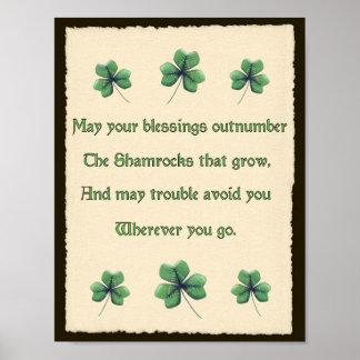 Poster Bénédiction irlandaise de shamrocks
