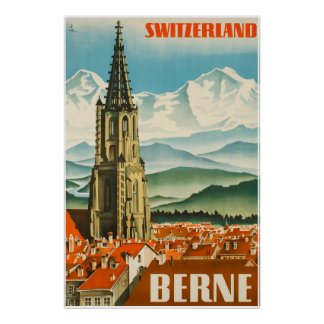 Poster Berne, Suisse, affiche de voyage