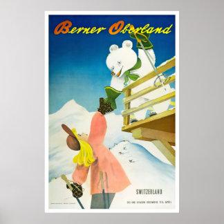 Poster Berner Oberland, Suisse, affiche de ski