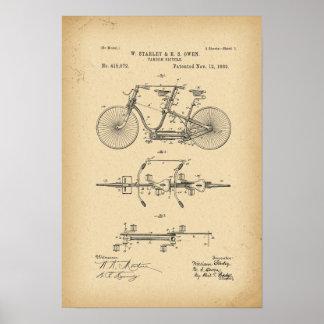 Poster Bicyclette de tandem de 1889 brevets