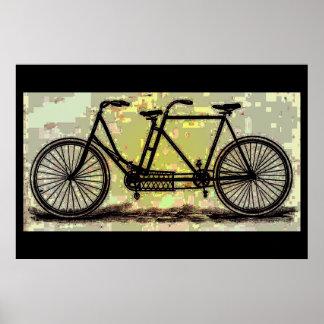 Poster Bicyclette tandem vintage d'affiche de vélo