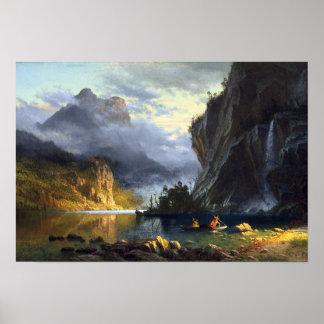 Poster bierstadt d'Albert - lance d'Indiens pêchant 1862