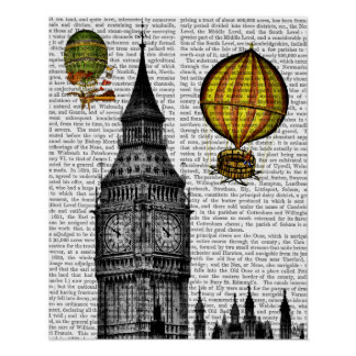 Poster Big Ben et ballons à air chauds vintages