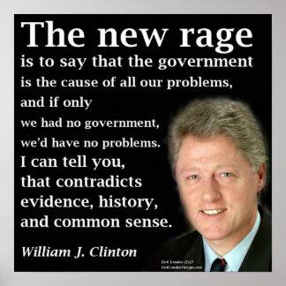 Poster Bill Clinton aucune affiche de citation d'éloge de
