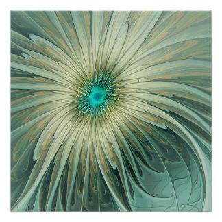 Poster Blé abstrait moderne de turquoise de fleur